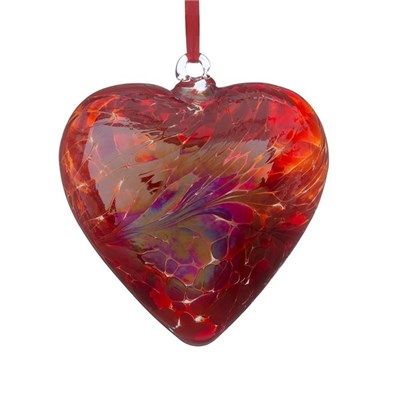 Sienna Glass Friendship Heart, 8 cm red