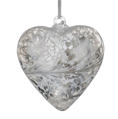 Sienna Glass Friendship Heart, 8 cm silver