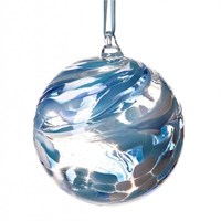 Amelia Art Glass Friendship Ball, 12 cm teal-white
