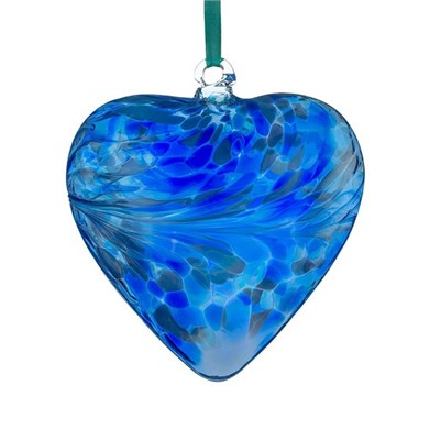Sienna Glass Friendship Heart, 12 cm blue
