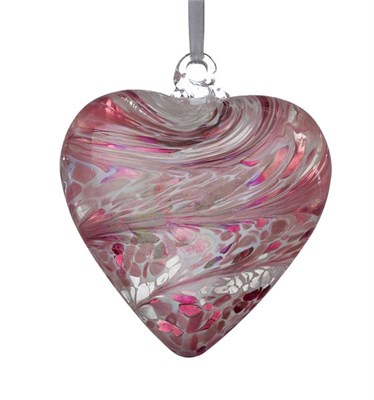 Sienna Glass Friendship Heart, 8 cm pastel pink