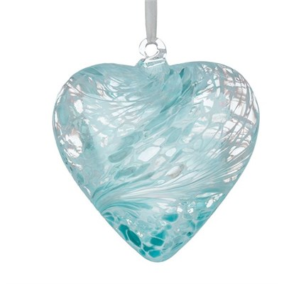 Sienna Glass Friendship Heart, 8 cm pastel blue