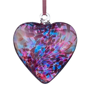 Sienna Glass Friendship Heart, 8 cm blue-pink