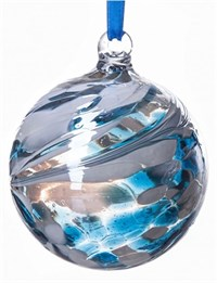 Amelia Art Glass Friendship Ball, 8 cm teal-white
