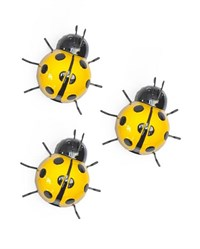 Set of 3 Small Yellow Ladybirds