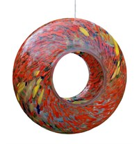 Sienna Glass Bird Feeder, red