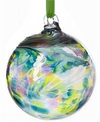 Amelia Art Glass Friendship Ball, 10 cm purple-teal-lime