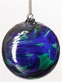 Amelia Art Glass Friendship Ball, 8 cm Blue-Green