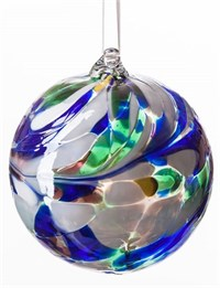 Amelia Art Glass Friendship Ball, 8 cm Blue-Yellow-Green