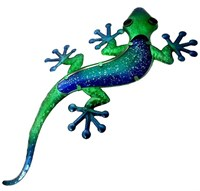 Cobalt Blue and Green Glass Gecko, 61 cm
