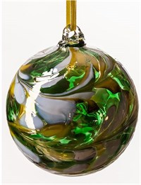 Amelia Art Glass Friendship Ball, 8 cm Green-white-Yellow